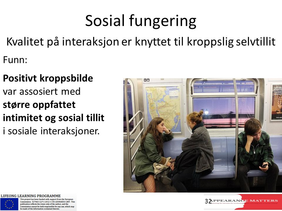 Sosial fungering Funn: Positivt kroppsbilde var assosiert med større oppfattet intimitet og sosial tillit i sosiale interaksjoner. Kvalitet på interak