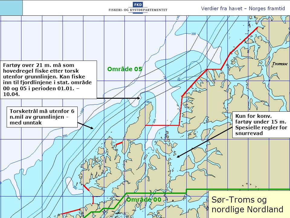Sør-Troms og nordlige Nordland Torsketrål må utenfor 6 n.mil av grunnlinjen - med unntak Kun for konv.