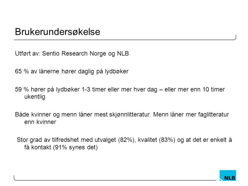 Brukerundersøkelse Utført av: Sentio Research Norge og NLB 65 % av lånerne hører daglig på lydbøker 59 % hører på lydbøker 1-3 timer eller mer hver dag – eller mer enn 10 timer ukentlig Både kvinner og menn låner mest skjønnlitteratur.