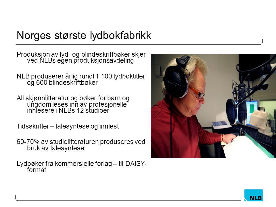 Norges største lydbokfabrikk Produksjon av lyd- og blindeskriftbøker skjer ved NLBs egen produksjonsavdeling NLB produserer årlig rundt 1 100 lydboktitler og 600 blindeskriftbøker All skjønnlitteratur og bøker for barn og ungdom leses inn av profesjonelle innlesere i NLBs 12 studioer Tidsskrifter – talesyntese og innlest 60-70% av studielitteraturen produseres ved bruk av talesyntese Lydbøker fra kommersielle forlag – til DAISY- format