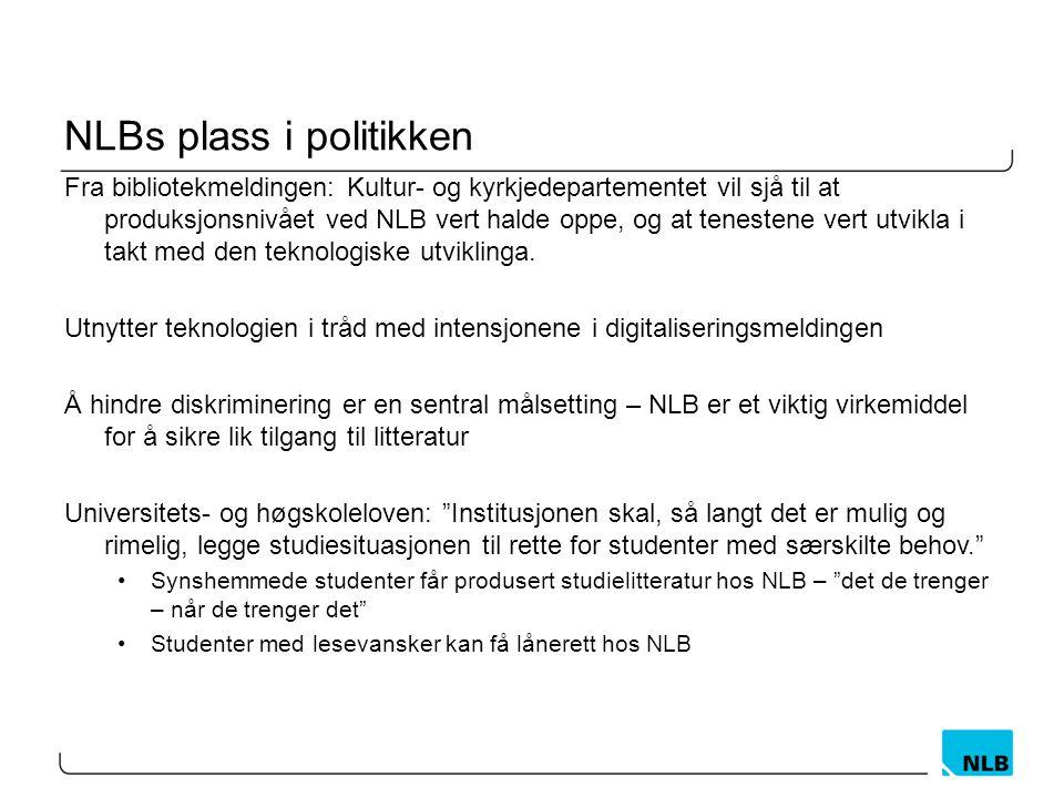 NLBs plass i politikken Fra bibliotekmeldingen: Kultur- og kyrkjedepartementet vil sjå til at produksjonsnivået ved NLB vert halde oppe, og at tenestene vert utvikla i takt med den teknologiske utviklinga.