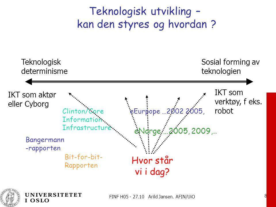 FINF H05 - 27.10 Arild Jansen.AFIN/UiO 9 Autonom teknologi -lineær utviklingstrekk.
