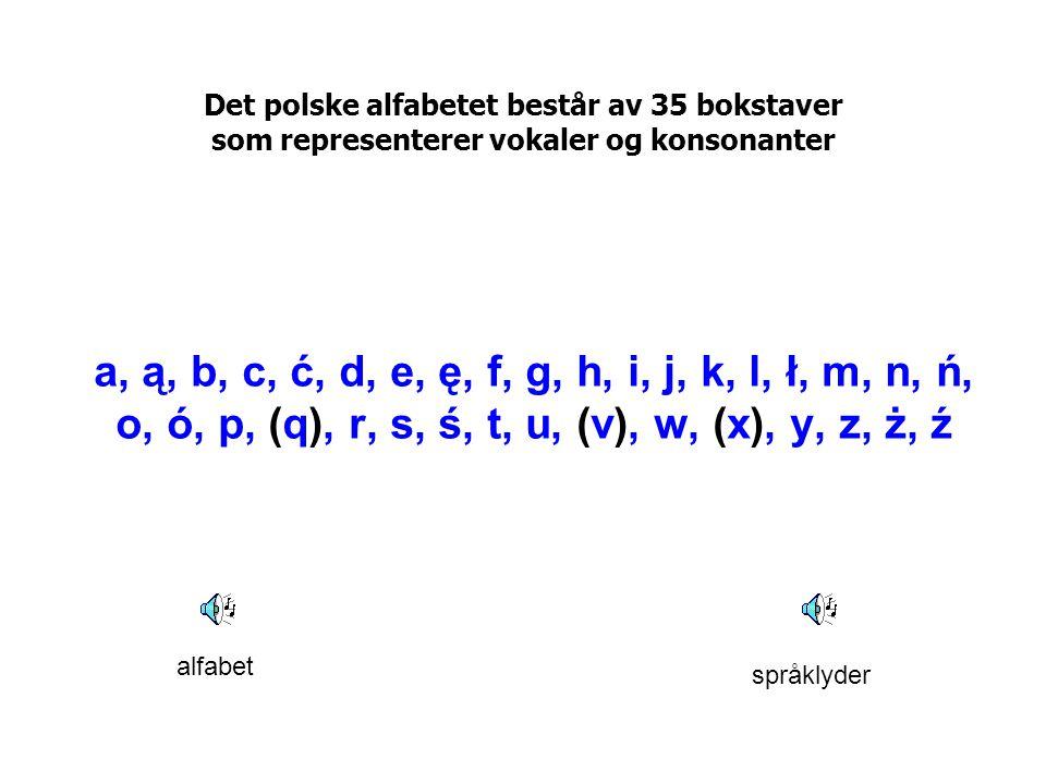 Det polske alfabetet består av 35 bokstaver som representerer vokaler og konsonanter a, ą, b, c, ć, d, e, ę, f, g, h, i, j, k, l, ł, m, n, ń, o, ó, p,