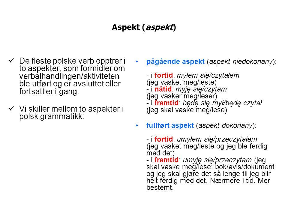 Aspekt (aspekt) De fleste polske verb opptrer i to aspekter, som formidler om verbalhandlingen/aktiviteten ble utført og er avsluttet eller fortsatt e