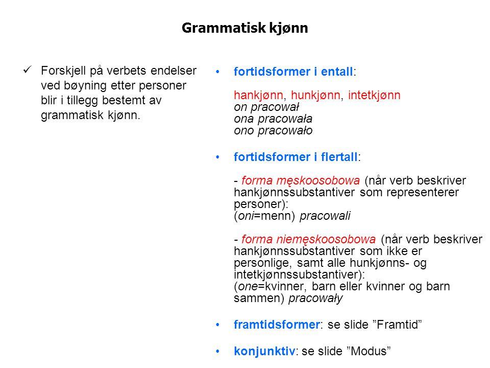 Grammatisk kjønn Forskjell på verbets endelser ved bøyning etter personer blir i tillegg bestemt av grammatisk kjønn. fortidsformer i entall: hankjønn