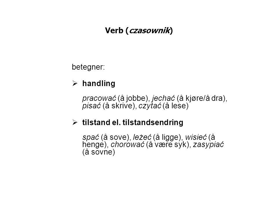 Verb (czasownik) betegner:  handling pracować (å jobbe), jechać (å kjøre/å dra), pisać (å skrive), czytać (å lese)  tilstand el. tilstandsendring sp