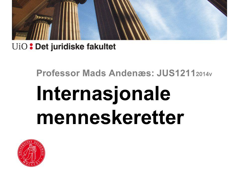 Professor Mads Andenæs: JUS1211 2014v Internasjonale menneskeretter
