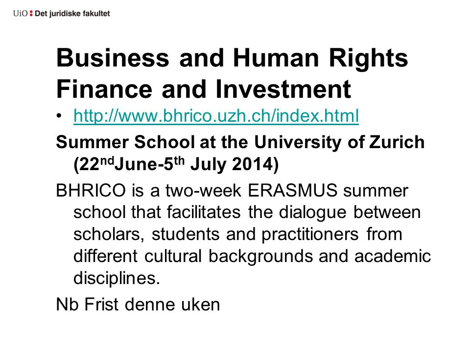 Business and Human Rights Finance and Investment http://www.bhrico.uzh.ch/index.html Summer School at the University of Zurich (22 nd June-5 th July 2014) BHRICO is a two-week ERASMUS summer school that facilitates the dialogue between scholars, students and practitioners from different cultural backgrounds and academic disciplines.