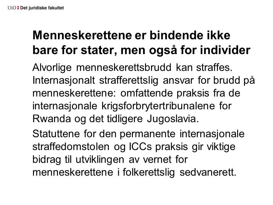 Menneskerettene er bindende ikke bare for stater, men også for individer Alvorlige menneskerettsbrudd kan straffes. Internasjonalt strafferettslig ans
