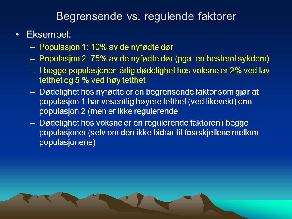 To kilder til ustabile populasjonstørrelser 1.Mye miljøstokastisitet (f.eks.