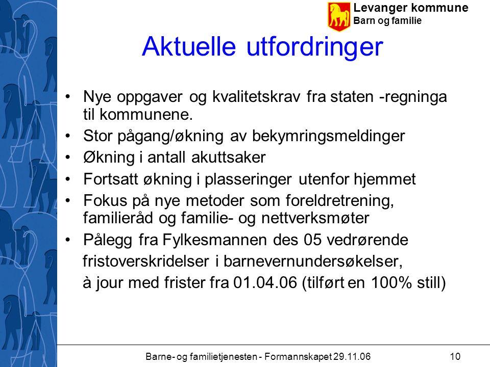 Levanger kommune Barn og familie Barne- og familietjenesten - Formannskapet 29.11.0610 Aktuelle utfordringer Nye oppgaver og kvalitetskrav fra staten -regninga til kommunene.