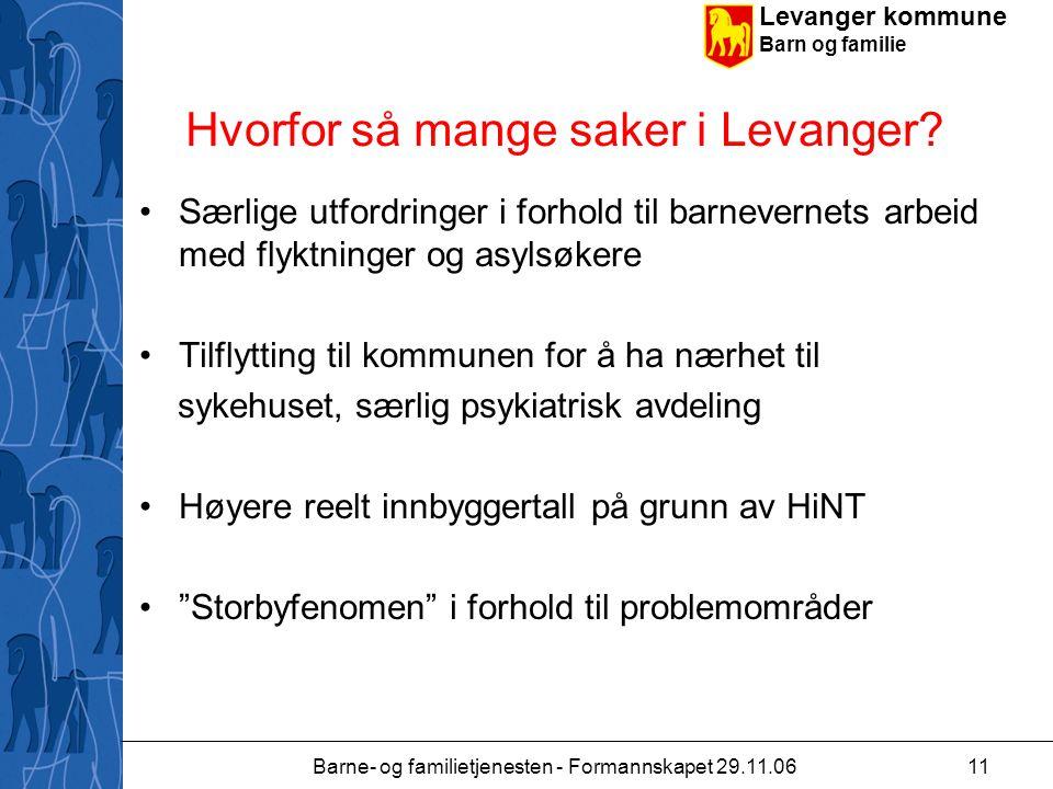 Levanger kommune Barn og familie Barne- og familietjenesten - Formannskapet 29.11.0611 Hvorfor så mange saker i Levanger.