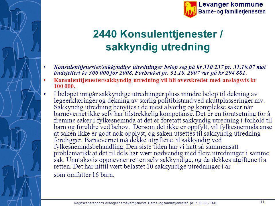 Levanger kommune Barne- og familietjenesten Regnskapsrapport Levanger barneverntjeneste, Barne- og familietjenesten, pr 31.10.08 - TMO 11 2440 Konsule