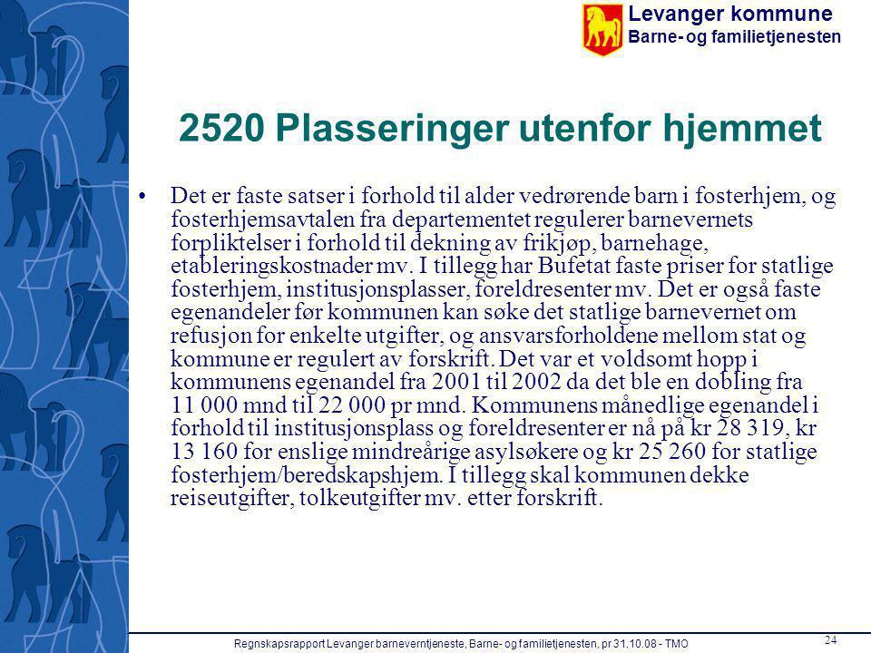 Levanger kommune Barne- og familietjenesten Regnskapsrapport Levanger barneverntjeneste, Barne- og familietjenesten, pr 31.10.08 - TMO 24 2520 Plasser