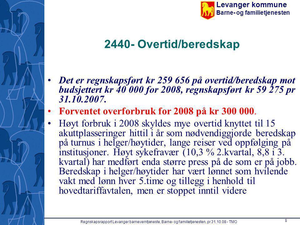 Levanger kommune Barne- og familietjenesten Regnskapsrapport Levanger barneverntjeneste, Barne- og familietjenesten, pr 31.10.08 - TMO 9 2440 - Transport/skyss ansatte Transport/skyss til ansatte var på kr 294 654 pr.