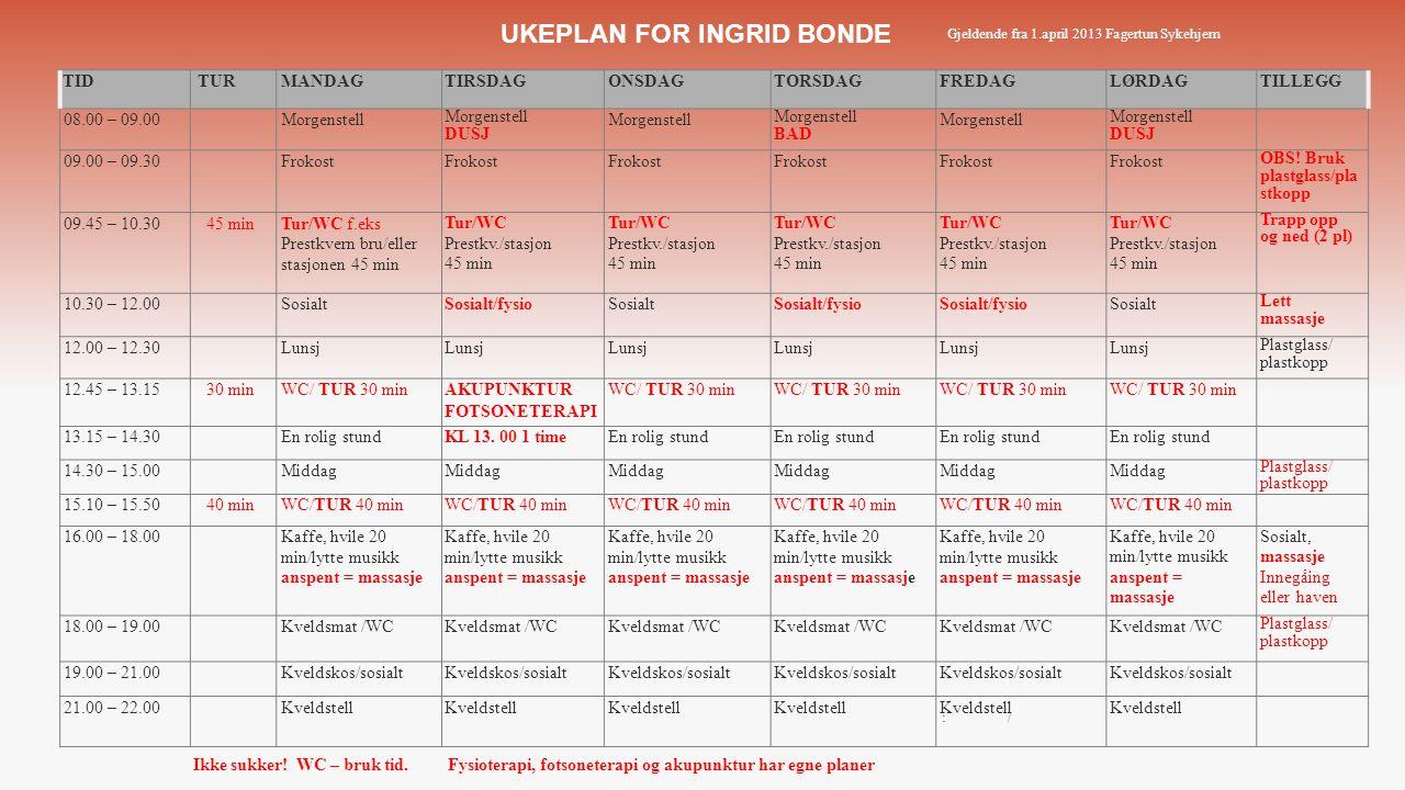 UKEPLAN FOR INGRID BONDE Gjeldende fra 1.april 2013 Fagertun Sykehjem Ikke sukker! WC – bruk tid.Fysioterapi, fotsoneterapi og akupunktur har egne pla