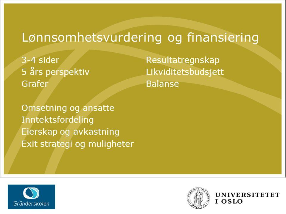 Lønnsomhetsvurdering og finansiering 3-4 sider 5 års perspektiv Grafer Omsetning og ansatte Inntektsfordeling Eierskap og avkastning Exit strategi og