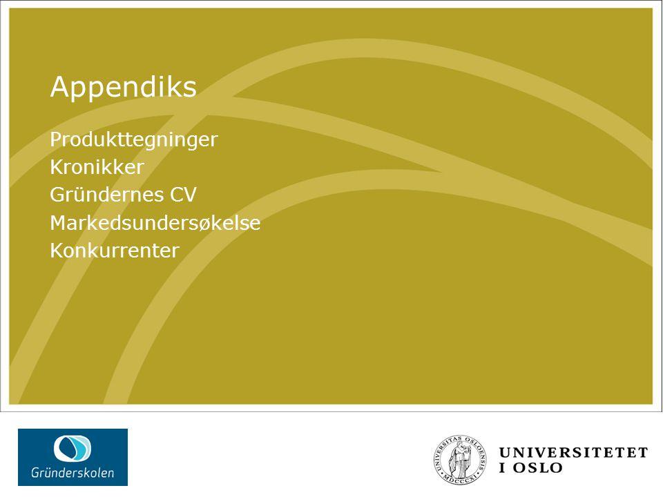 Appendiks Produkttegninger Kronikker Gründernes CV Markedsundersøkelse Konkurrenter