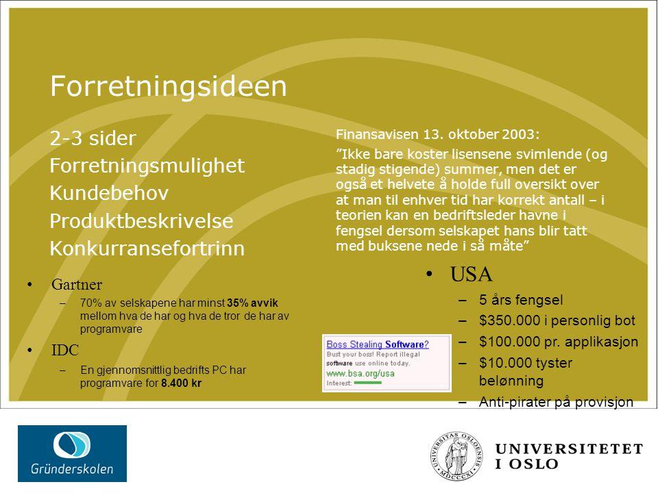 Ledelsen 2-3 sider Gründerne Kunnskapsprofil (s.