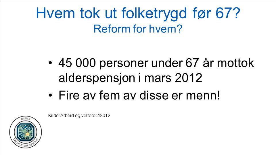 Hvem tok ut folketrygd før 67. Reform for hvem.