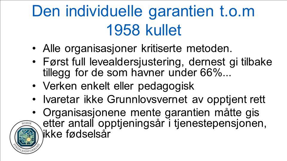 Den individuelle garantien t.o.m 1958 kullet Alle organisasjoner kritiserte metoden.