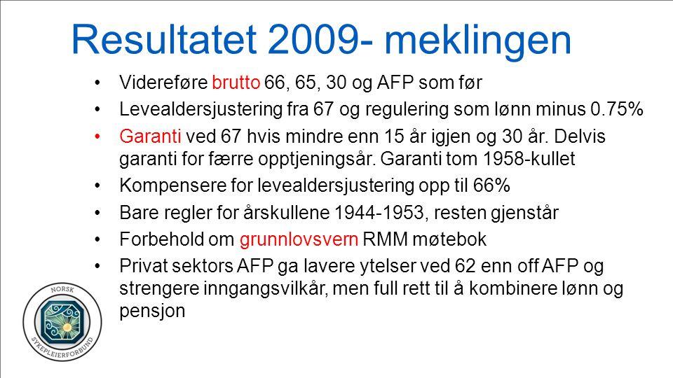 Resultatet 2009- meklingen Videreføre brutto 66, 65, 30 og AFP som før Levealdersjustering fra 67 og regulering som lønn minus 0.75% Garanti ved 67 hvis mindre enn 15 år igjen og 30 år.