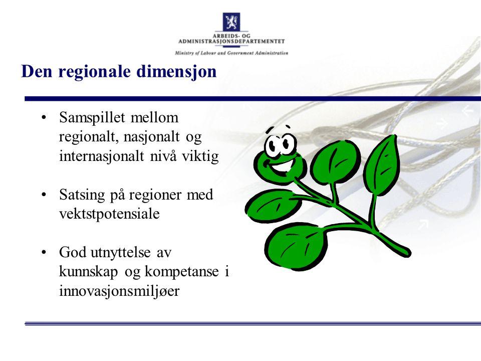 Den regionale dimensjon Samspillet mellom regionalt, nasjonalt og internasjonalt nivå viktig Satsing på regioner med vektstpotensiale God utnyttelse a