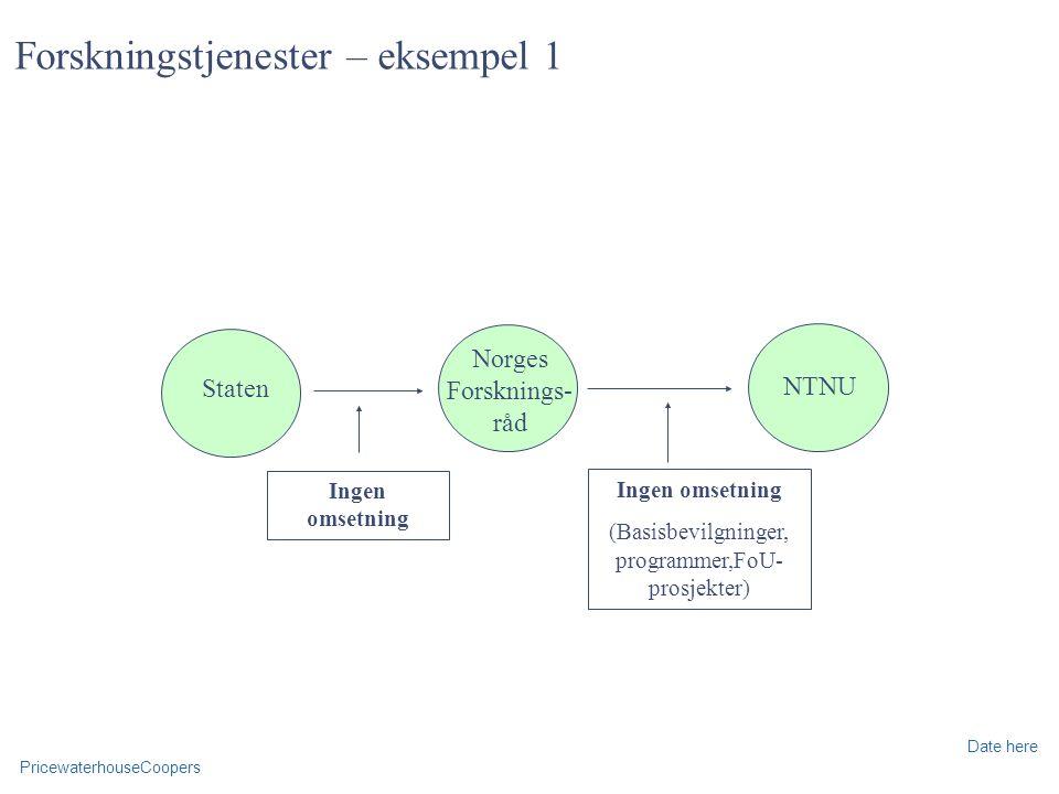 PricewaterhouseCoopers Date here Forskningstjenester – eksempel 1 Staten Norges Forsknings- råd NTNU Ingen omsetning (Basisbevilgninger, programmer,FoU- prosjekter) Ingen omsetning
