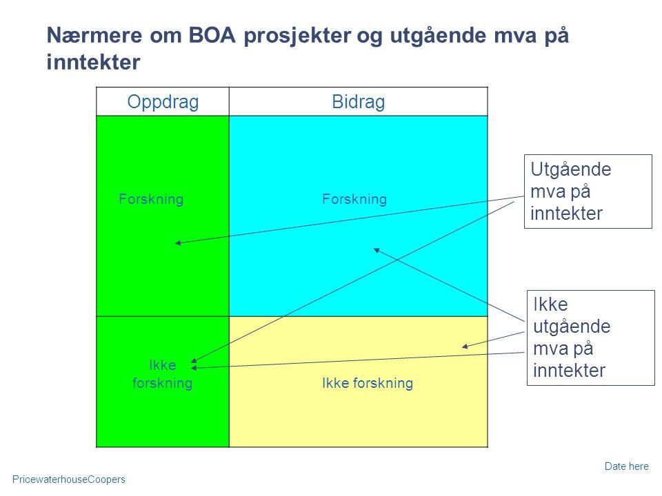 PricewaterhouseCoopers Date here Nærmere om BOA prosjekter og utgående mva på inntekter OppdragBidrag Forskning Ikke forskning Ikke utgående mva på inntekter Utgående mva på inntekter