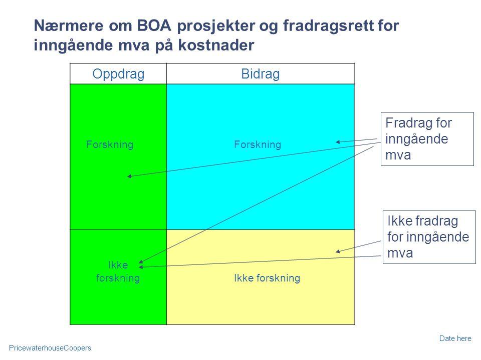PricewaterhouseCoopers Date here Nærmere om BOA prosjekter og fradragsrett for inngående mva på kostnader OppdragBidrag Forskning Ikke forskning Ikke fradrag for inngående mva Fradrag for inngående mva