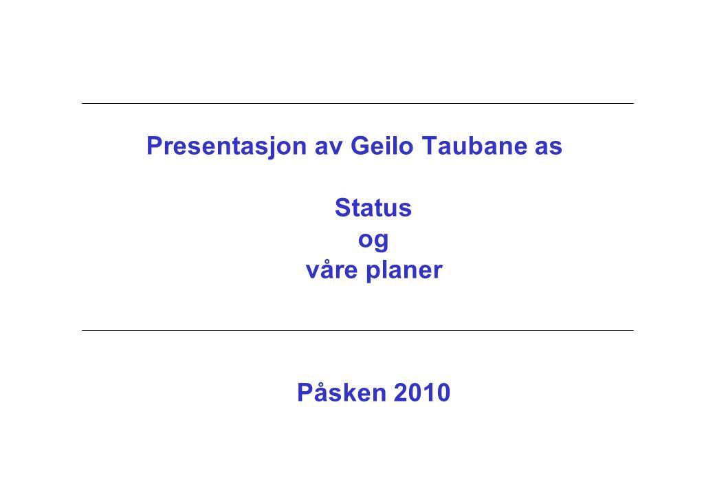 Presentasjon av Geilo Taubane as Status og våre planer Påsken 2010