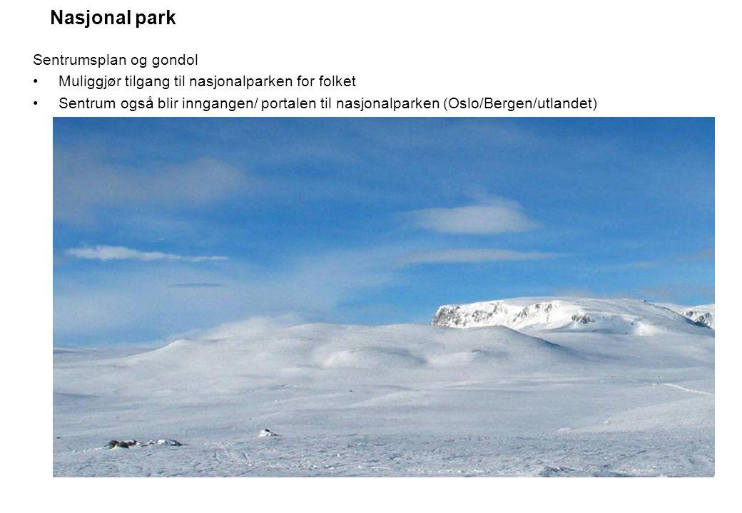 Nasjonal park Sentrumsplan og gondol Muliggjør tilgang til nasjonalparken for folket Sentrum også blir inngangen/ portalen til nasjonalparken (Oslo/Be