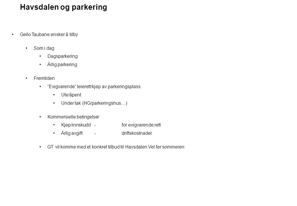 """Havsdalen og parkering Geilo Taubane ønsker å tilby Som i dag Dagsparkering Årlig parkering Fremtiden """"Evigvarende"""" leierett/kjøp av parkeringsplass U"""