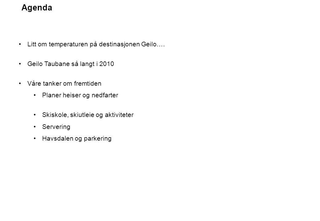 Agenda Litt om temperaturen på destinasjonen Geilo…. Geilo Taubane så langt i 2010 Våre tanker om fremtiden Planer heiser og nedfarter Skiskole, skiut