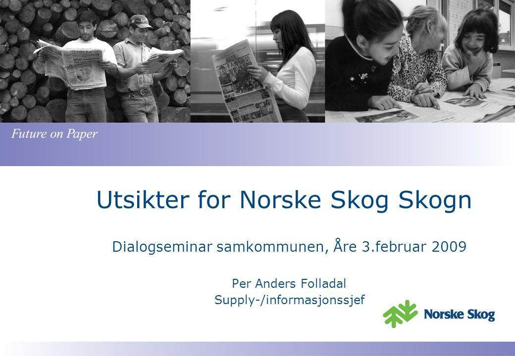 Utsikter for Norske Skog Skogn Dialogseminar samkommunen, Åre 3.februar 2009 Per Anders Folladal Supply-/informasjonssjef