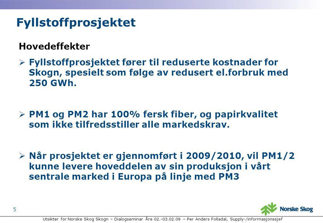 Utsikter for Norske Skog Skogn – Dialogseminar Åre 02.-03.02.09 – Per Anders Folladal, Supply-/informasjonssjef 5 Hovedeffekter  Fyllstoffprosjektet fører til reduserte kostnader for Skogn, spesielt som følge av redusert el.forbruk med 250 GWh.