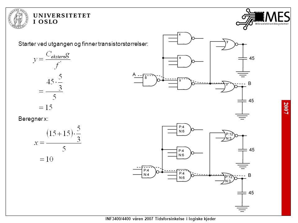 2007 INF3400/4400 våren 2007 Tidsforsinkelse i logiske kjeder Eksamensoppgave 2005 Finn logisk effort for portene og kjeden.