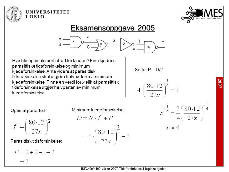 2007 INF3400/4400 våren 2007 Tidsforsinkelse i logiske kjeder Eksamensoppgave 2005 Finn transistorstørrelser som gir minimum kjedeforsinkelse når parasittisk kjedeforsinkelse er halvparten av minimum kjedeforsinkelse.