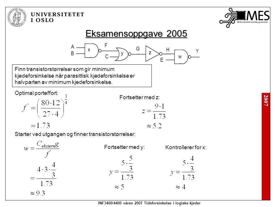 2007 INF3400/4400 våren 2007 Tidsforsinkelse i logiske kjeder Prøveeksamen 2005 Finn logisk effort for portene og kjeden.