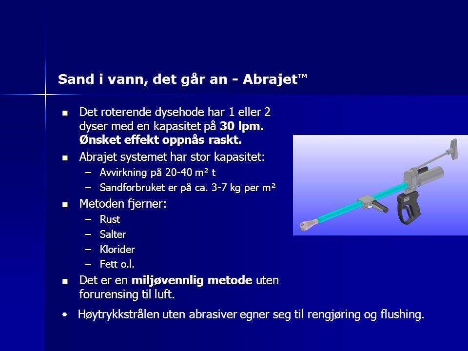 Det roterende dysehode har 1 eller 2 dyser med en kapasitet på 30 lpm. Ønsket effekt oppnås raskt. Det roterende dysehode har 1 eller 2 dyser med en k