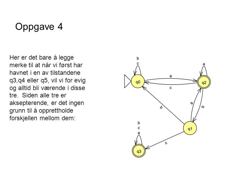Oppgave 4 Her er det bare å legge merke til at når vi først har havnet i en av tilstandene q3,q4 eller q5, vil vi for evig og alltid bli værende i dis