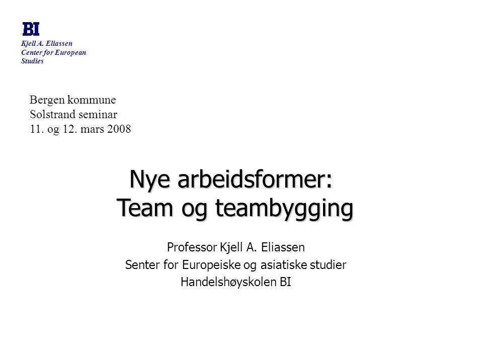 Kjell A. Eliassen Center for European Studies Bergen kommune Solstrand seminar 11. og 12. mars 2008 Nye arbeidsformer: Team og teambygging Team og tea