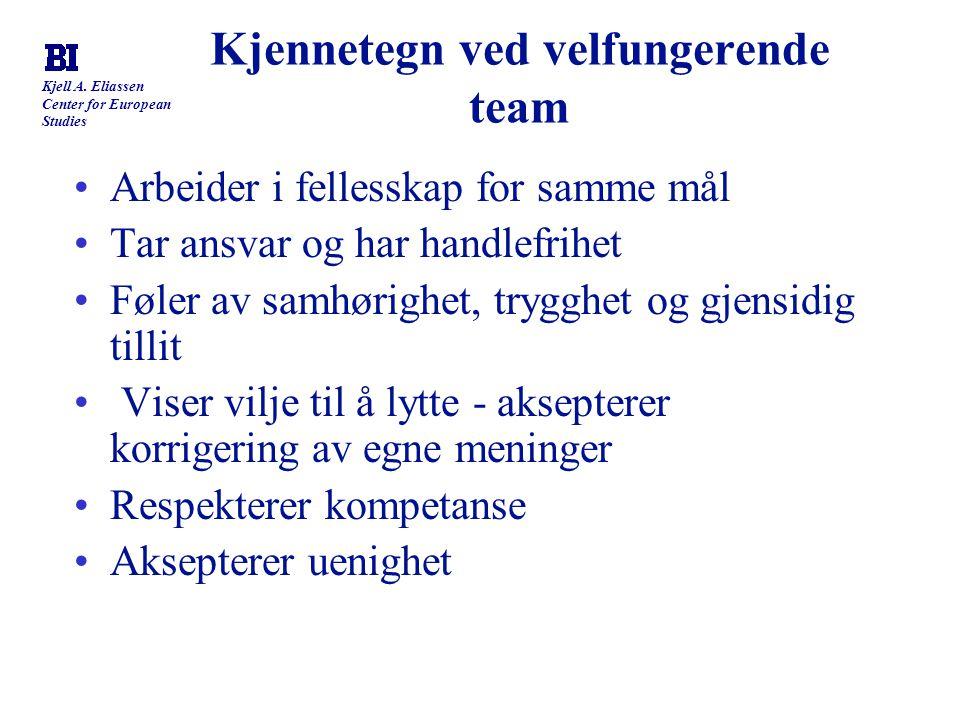 Kjell A. Eliassen Center for European Studies Kjennetegn ved velfungerende team Arbeider i fellesskap for samme mål Tar ansvar og har handlefrihet Føl