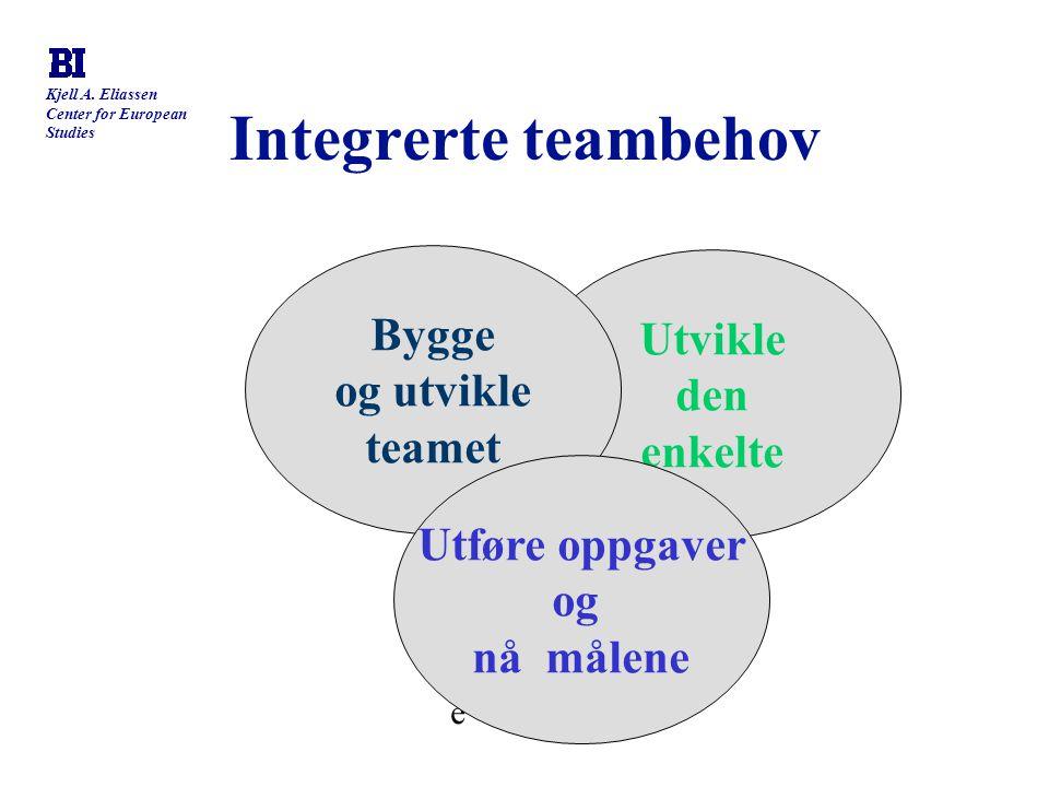 Kjell A. Eliassen Center for European Studies Integrerte teambehov føre føre Utvikle den enkelte Bygge og utvikle teamet Utføre oppgaver og nå målene