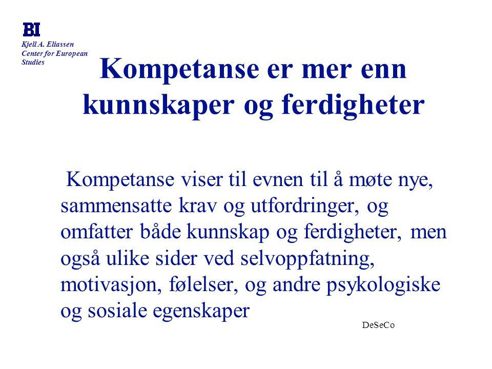 Kjell A. Eliassen Center for European Studies Kompetanse er mer enn kunnskaper og ferdigheter Kompetanse viser til evnen til å møte nye, sammensatte k