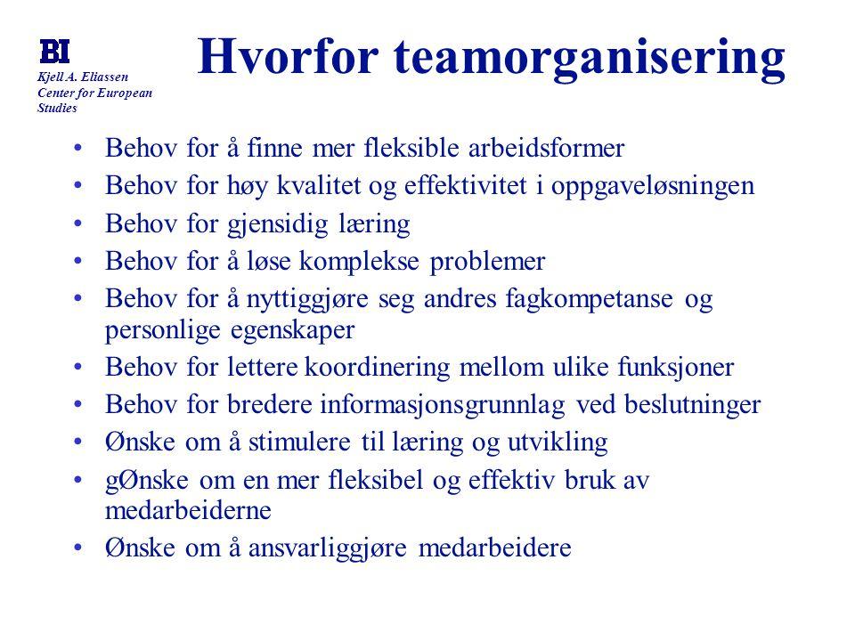 Kjell A. Eliassen Center for European Studies Hvorfor teamorganisering Behov for å finne mer fleksible arbeidsformer Behov for høy kvalitet og effekti