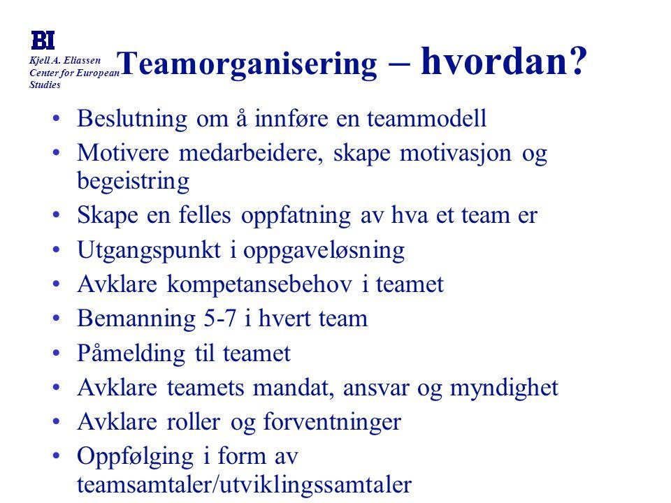 Kjell A. Eliassen Center for European Studies Teamorganisering – hvordan? Beslutning om å innføre en teammodell Motivere medarbeidere, skape motivasjo