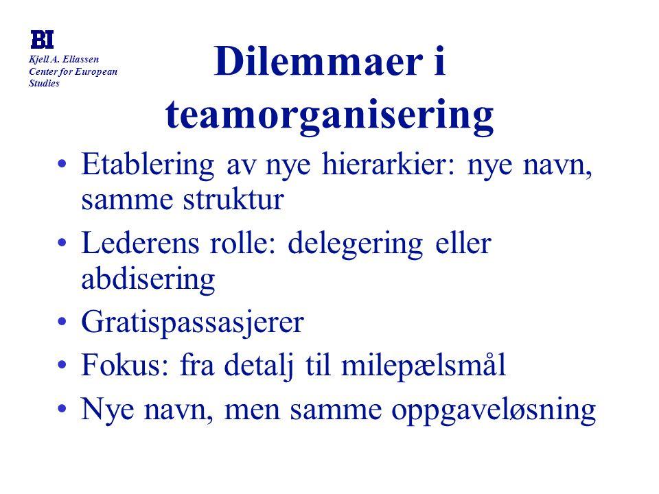 Kjell A. Eliassen Center for European Studies Dilemmaer i teamorganisering Etablering av nye hierarkier: nye navn, samme struktur Lederens rolle: dele