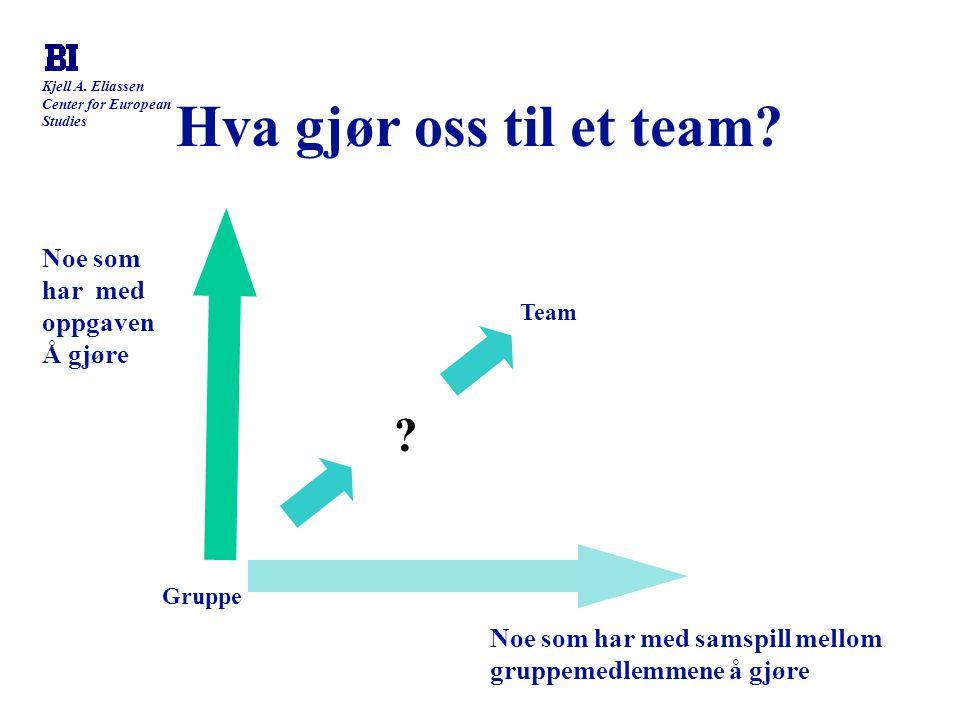 Kjell A. Eliassen Center for European Studies Hva gjør oss til et team? Noe som har med oppgaven Å gjøre Noe som har med samspill mellom gruppemedlemm