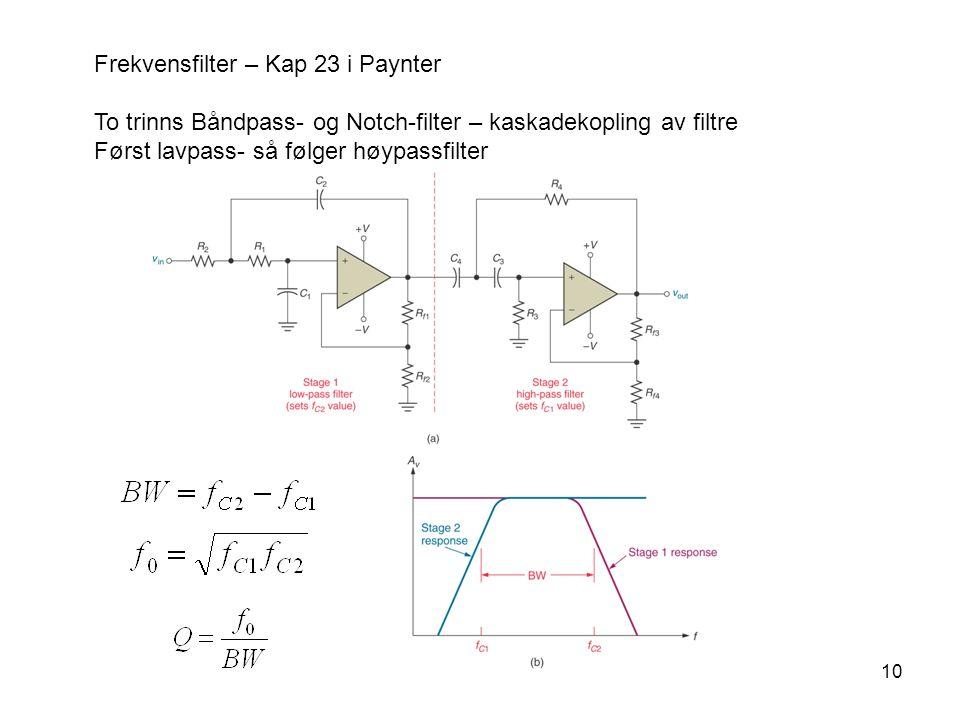 10 Frekvensfilter – Kap 23 i Paynter To trinns Båndpass- og Notch-filter – kaskadekopling av filtre Først lavpass- så følger høypassfilter